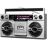 Victrola VBB-10-SLV 80 年代藍牙 Boombox 帶磁帶播放器和 AM/FM 收音機,銀色