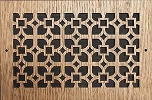 图案切割木格栅:606 用于墙壁开口(厘米)= 15.24 x 15.24,整体尺寸(厘米)= 19.05 x 19.05 厘米,橡木,图案 Q