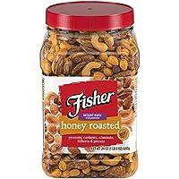 Fisher Snack 蜂蜜烤花生等混合坚果,24盎司/680克,腰果,杏仁,欧洲榛子,山核桃