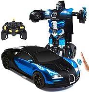 Trimnpy 遥控汽车机器人儿童遥控汽车变形机器人手势感应玩具,单按钮变形,360°旋转漂移,1:14比例,男孩和女孩的*佳礼物 蓝色
