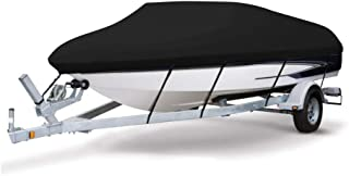 VINGLI 可拖车 Runabout 船罩 重型 600D 涤纶 防水 防紫外线 海洋级 耐用防撕裂 适合 17-19 英尺 V 型船体 三轮船 滑雪 专业风格 低音船 黑色