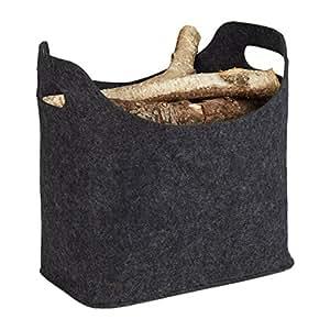 relaxdays firewood 篮 MADE from 油墨,2手柄,可折叠,报纸支架无*煤