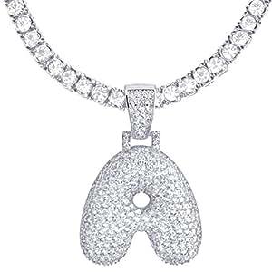 "Metaltree98 60.96 厘米网球链 A - Z 首字母气泡字母镀银冰锆石吊坠 60.96 厘米项链 白色 24"" Chain"