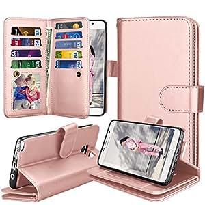 Galaxy Note 5 手机壳,Tinysaturn [Ypul 系列]钱包翻盖式磁支架 PU 皮革*保护带卡槽【腕带】三星 Galaxy Note 5 SM-N920 手机壳 玫瑰金