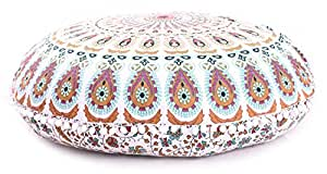 mandala 地板枕头靠垫座抱覆盖嬉皮装饰波西米亚 Ottoman poufs 啦啦枕套 BOHO 印度