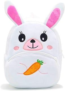 可爱幼儿背包幼儿包毛绒动物卡通迷你旅行包适合2-6岁女婴男孩(兔子白色)