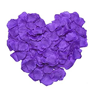 EMAXELER [破碎的女孩花] 1000 件深蓝丝绸玫瑰花瓣婚礼桌彩屑新娘派对花女孩装饰 紫色