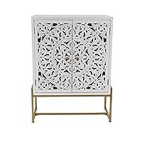 Deco 79 45845 方形传统木雕白色橱柜金属金铁架,78.74 x 106.68 厘米