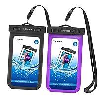 MOKO [ 2包 ] 通用防水手机保护套带臂带 & 领肩带适用于设备和配件 UP TO 15.2cm Black & Purple 2 件装