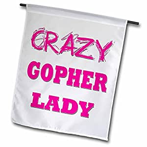 blonde Designs 疯狂拇指 pointing 后女用是–crazy Gopher 女用–旗帜 12 x 18 inch Garden Flag