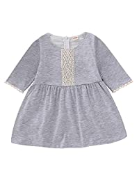 Happy Town 婴幼儿女童棉半袖裙蕾丝连衣裙秋季装服装