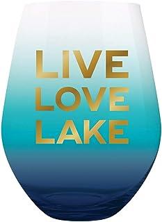 Slant Collections 无柄红酒玻璃或浴室玻璃杯,钴蓝色渐变色上金字样,20 盎司:大葡萄酒杯可容纳整个瓶子|湖屋装饰家居