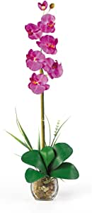 Nearly Natural 1104-OR Single Phalaenopsis Liquid Illusion Silk Flower Arrangement, Orchid