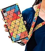 SOKAD 手机壳适用于 iPhone XR 2018 6.1 英寸,挂绳带奢华柔软 TPU 全身重型防震保护壳金属边角后盖 iPhone XR 手机壳 Yellow Geometric