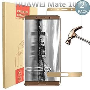 [2 件装] 华为 Mate 10 屏幕保护膜,PULEN [0.3mm,2.5D] [防刮] [防指纹] [安装简单] [超薄高清透明] 华为 Mate 10 钢化玻璃屏幕 金色