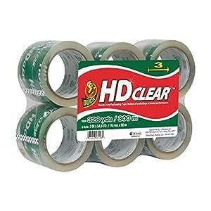 Duck HD Clear Heavy Duty Wide Packaging Tape Refill, 6 Rolls, 3 Inch x 54.6 Yard, (307352)