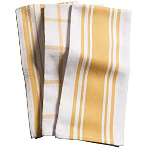 KAF 家用中心带/篮子/窗玻璃 - 3 件套厨房毛巾 蜂蜜色 KT40112
