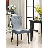 iconic 家庭 lennon PU 皮革现代当代钮扣凹钉 turned 木制腿餐厅椅子2件套