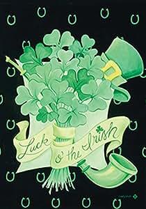 托兰家庭花园爱尔兰花束 31.75 x 45.72 cm 装饰幸运绿三叶草圣帕特里克节花园旗帜