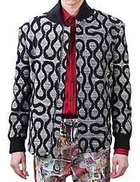 VIVIENNE WESTWOOD 薇薇安韦斯特伍德 男式 运动梭织夹克 GREY SQUIGGLE 黑色/浅灰色 VWAM0195S25264MM11B2