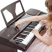 爱尔科(ECHO)电子琴初学入门儿童成年人演奏教学型61键多功能通用仿钢琴键 (608黑色套装(木琴架+书夹+琴键贴))