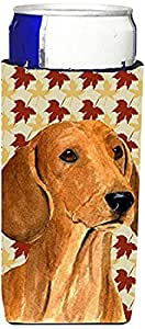 Dachshund Fall Leaves Portrait Michelob Ultra Koozies for slim cans SS4369MUK 多色 Slim