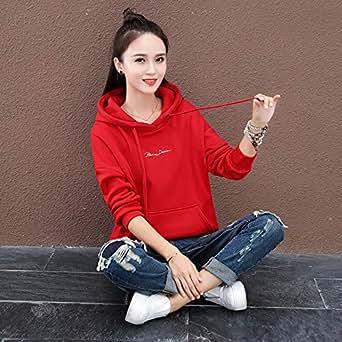 2018秋冬新款韩版宽松懒惰风加绒加厚卫衣女连帽短款polo外套上衣红色 M