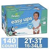 Pampers Easy Ups 训练裤拉式一次性纸尿裤男孩尺码 4 (2T-3T),164 支装,一年供应 Size 4, 16-34 lb (2T-3T), 140 Count 4 140