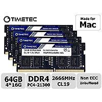 Timetec Hynix IC 兼容苹果 2019 iMac 27 英寸 w/Retina 5K 显示屏,2018 年末 Mac Mini DDR4 2666MHz PC4-21300 CL19 1.2V SODIMM 内存 RAM * 64GB KIT(4x16GB)