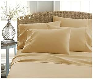 ienjoy Home 奢华柔软豪华 Becky Cameron *店品质 6 件套床单套装 金色 King BC-6PC-KING-GOLD