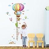 decowall dm-1606动物热气球身高表儿童墙贴花墙贴纸即剥即贴可移除墙贴纸适用于儿童幼儿园卧室客厅