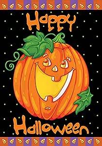 Toland Home Garden Happy Halloween 12.5 x 18 Inch Decorative Jack o Lantern Pumpkin Candy Corn Garden Flag