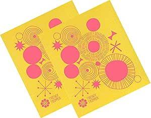 TRENDY Tripper swedish dishcloth , jenn 滑雪 mid-century 现代设计–螺旋(粉色 ON 黄色布)
