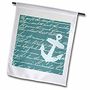 inspirationzstore 航海设计–绿松石船锚带蓝绿色蓝色背景和 handwriting–时尚条纹水手航海设计–旗帜 12 x 18 inch Garden Flag