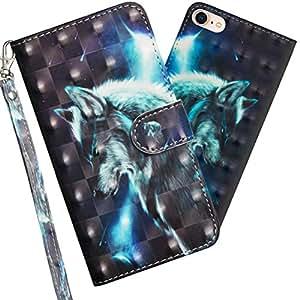 LEECOCO 手机壳,iPhone 5S,iPhone SE 高级3D 印花对折翻盖 PU 皮革钱包手机壳带支架卡现金夹插槽腕带保护套适用于 iPhone 5 / 5S / SE YX 3D Wolf