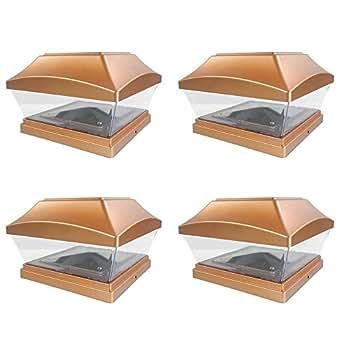 iGlow 4 只装铜/白色户外花园 15.24 x 15.24 太阳能 SMD LED 柱盖方形栏景观 PVC 乙烯基木 铜色