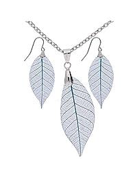 真叶树脂耳环和项链套装 - 蓝色