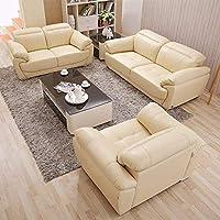 【下单赠价值998元真皮圆凳1个】左右 沙发 头层牛皮沙发 客厅U型沙发 真皮沙发123组合 DZY2503 单人位+双人位+三人位(1+2+3)米黄色