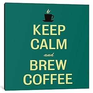 "iCanvasART 1-Piece Keep Calm & Brew Coffee II Canvas Print by Fabrizio, 26"" x 26""/1.5"" Deep"
