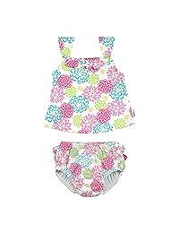 I PLAY BABY 女童2件荷叶边连体泳衣套装带按扣可重复使用吸水游泳尿布