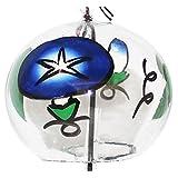 日本手工玻璃风铃 蓝色早晨亮花