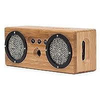 bongo 蓝牙木质便携式音箱 | 手工制作复古竹子无线设计 | 适用于旅行家居海滩厨房户外 | 增强低音双被动式低音炮 黑与白