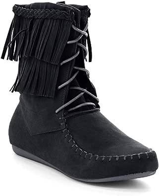 Forever Candice-22 女士 Sassy 双层流苏软帮踝靴 黑色 9 M US