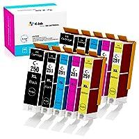 K-Ink PGI 250 CLI 251 兼容替换墨盒适用于 MX922(10 包 - 2 个大黑色,2 个小号黑色,2 个青色,2 个黄色,2 个洋红色)