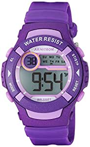 Armitron Sport 女士 45/7068PUR 薰衣草装饰数字紫色树脂表带手表