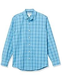 Amazon Essentials 男式标准长袖常规版型休闲府绸衬衫