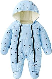 JunNeng 婴儿幼童加厚羊毛内衬连衫裤防雪服带手套,冬季卡通动物雪服连身衣套装