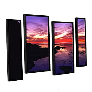 ArtWall Dean Uhlinger 4 Piece Sunset Cliffs Twilight Floater Framed Canvas Staggered Set, 24 by 36""