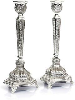 优质 Judaica 一对镀银烛台,银丝设计,适合小羊肉,7 英寸