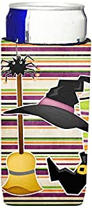 Witch Costume and Broom on Stripes Halloween Michelob Ultra Koozies for slim cans SB3010MUK 多色 Slim